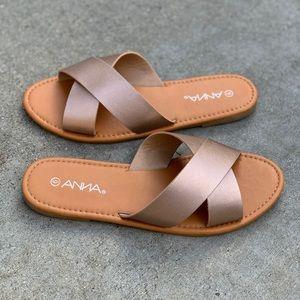 Anna Shoes - 🌟Anna Cross Strap Rose Gold Sandal Flip Flop